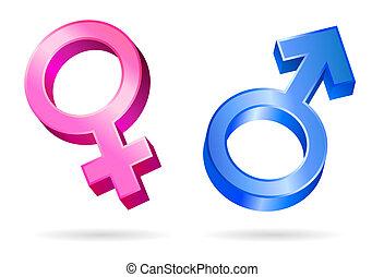 femme, mâle, symboles genre