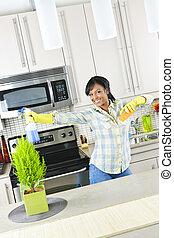 femme ménage, jeune, cuisine