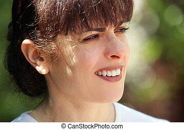 femme, mûrir, heureux