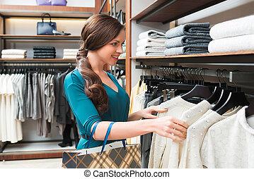 femme, magasin