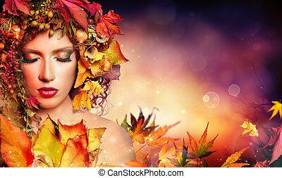 femme, magie, beauté, -, automne, mode