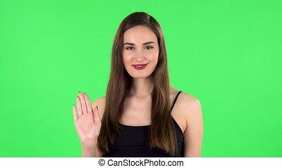 femme, main., écran, vert, onduler, beau