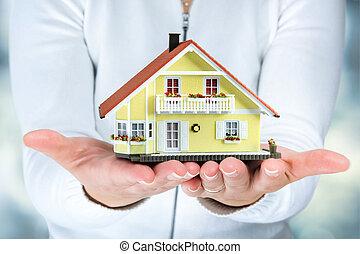 femme, mains, maison, vrai, -, propriété