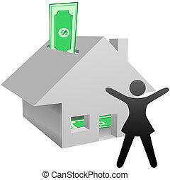femme, maison, symbole, travail, économies, revenu, maison, célèbre, ou