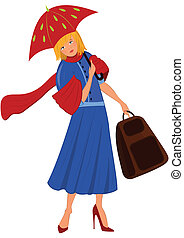 femme, manteau bleu, dessin animé, parapluie rouge