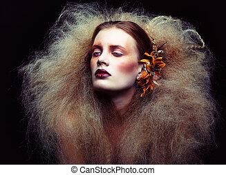 femme, maquillage, halloween, beauté