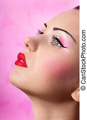 femme, maquillage