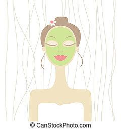 femme, masque, cosmétique, joli, figure