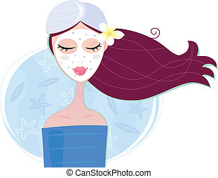 femme, masque, peler, facial, spa