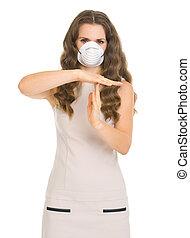 femme, masque, projection, arrêt, jeune, geste