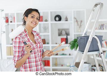 femme, matériels, portrait, peinture, tenue, maison