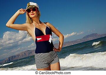 femme, mer, séduisant, blonds
