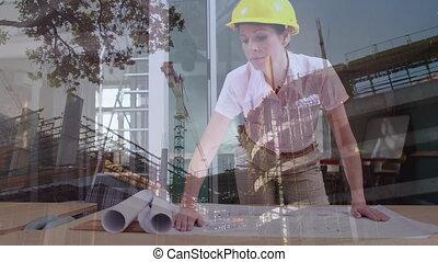 femme, modèles, site, regarder, architecte, construction