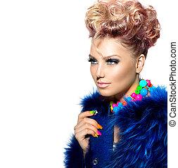 femme, mode, beauté, manteau bleu, portrait, fourrure