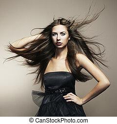 femme, mode, danse, hair., jeune, portrait, écoulement, long