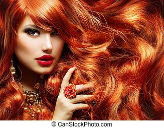 femme, mode, hair., long, portrait, bouclé, rouges