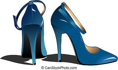 femme, mode, illustration, vecteur, shoes.