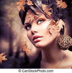 femme, mode, portrait., automne, automne