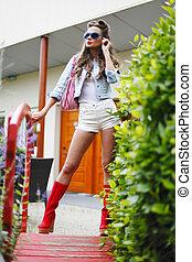 femme, mode, rue