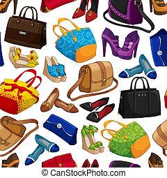 femme, mode, seamless, papier peint, accessoire