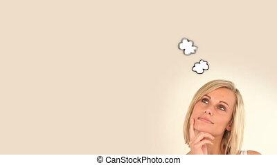 femme, moment, pensée, sur, blond