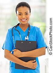 femme, monde médical, presse-papiers, tenue, africaine, infirmière