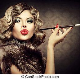 femme, mouthpiece., beauté, vendange, retro, appelé