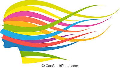 femme, multicolore, cheveux, vecteur