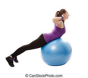 femme, muscles, fonctionnement, elle, athlétique, dos, balle