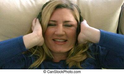 femme, musique écouter, headp