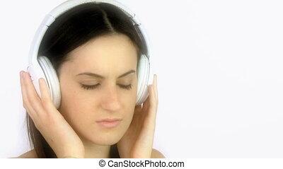 femme, musique, pleurer, triste