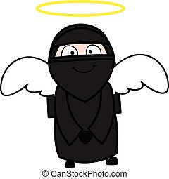 femme, musulman, costume ange, dessin animé