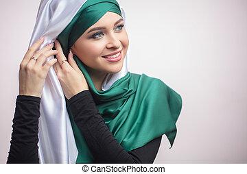 femme, musulman, haut, awasome, préparer, fin, portrait, jour mariage
