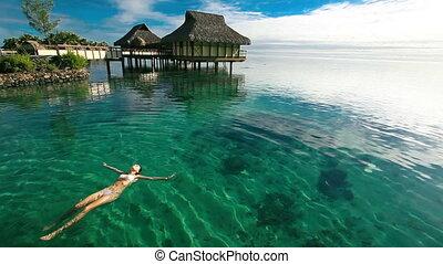 femme, natation, lagune, exotique