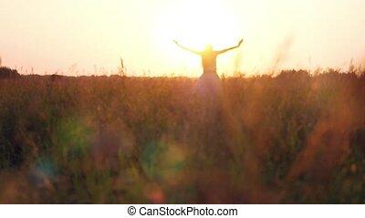 femme, nature, paille, jeune, lumière soleil, champ, apprécier