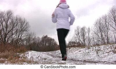 femme, neige, courant, appareil photo, way., premier