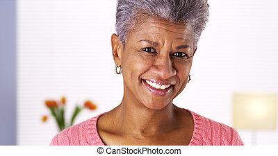 femme, noir, rire, mûrir