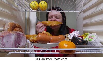 femme, nourriture, manger, graisse, affamé