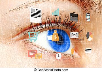 femme, numérique, bleu, virtuel, écran, oeil, regarder