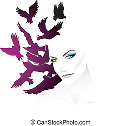 femme, oiseau