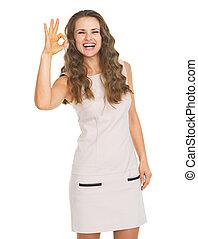 femme, ok, projection, jeune, geste, heureux