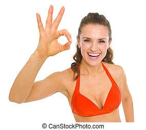 femme, ok, projection, jeune, maillot de bain, geste, heureux