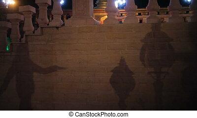 femme, ombre, mur