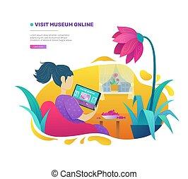 femme, online., exposition, musée, art, visiter, visite