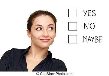 femme, option, business, écran, isolé, regarder, fond, confection, blanc, décision