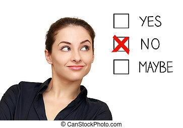 femme, option, business, non, décision, isolé, regarder, fond, blanc, sélectionner