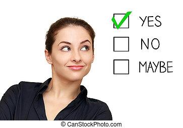 femme, option, décision économique, isolé, regarder, fond, oui, blanc, sélectionner
