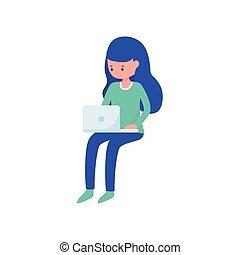 femme, ordinateur portable, ligne, jeune, apprentissage