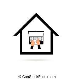 femme, ordinateur portable, travail, illustration, mains, maison