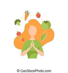 femme, organique, autour de, entouré, elle, sain, légumes, voler, jeune, vegan, manger, nourriture, vecteur, illustration, fruits, régime
